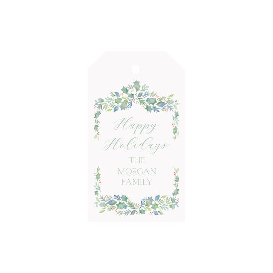 Garland Berries Blue Personalized Luggage Gift Tags