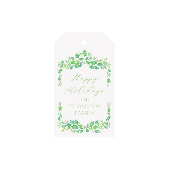 Garland Berries Green Personalized Luggage Gift Tags
