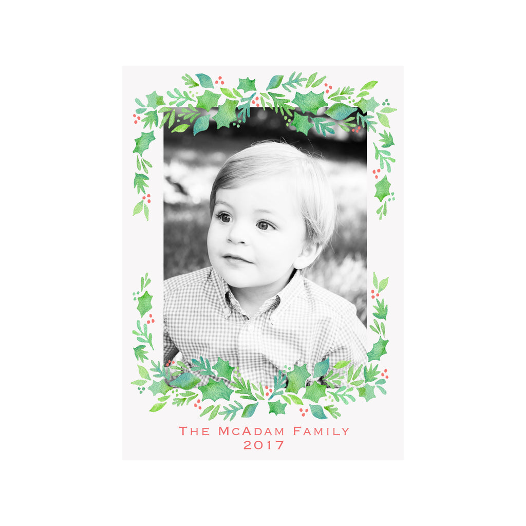 Garland Berries Holiday Photo Cards