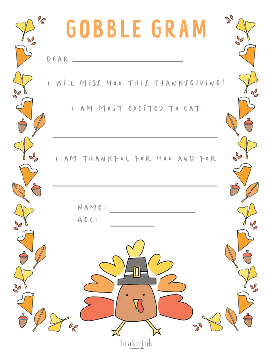 """Gobble Gram"" Printable Thanksgiving Letter"