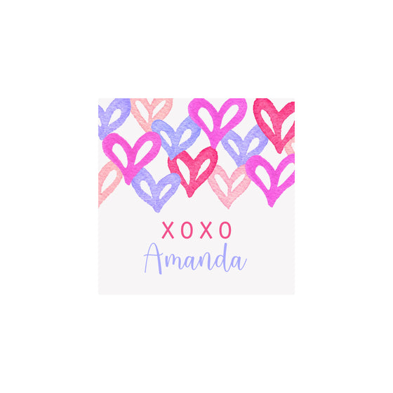 Graffiti Hearts Gift Tags & Stickers- Pink & Purple
