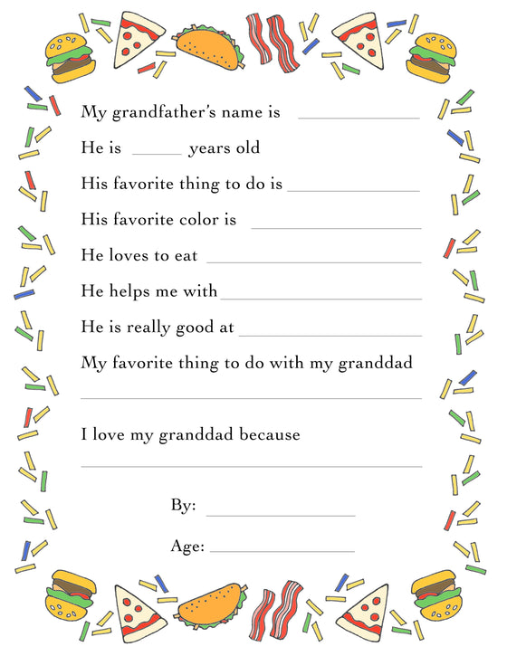 Grandfather's Day Questionnaire & Portrait Frame