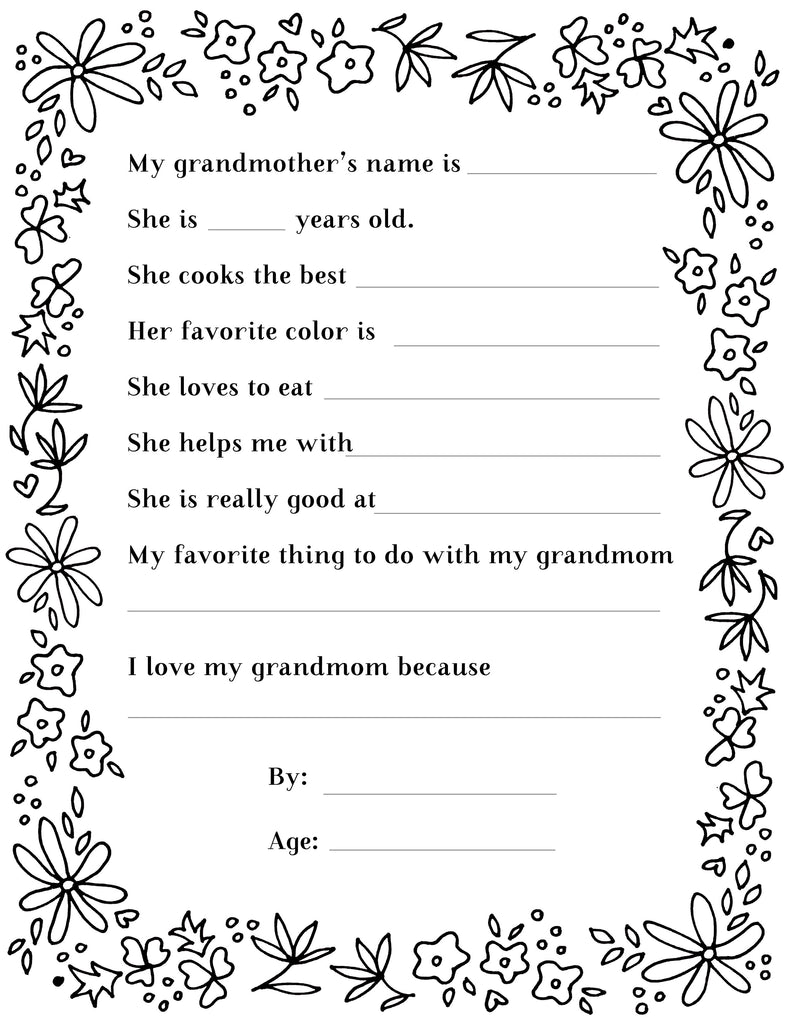 Grandmother's Day Questionnaire & Portrait Frame