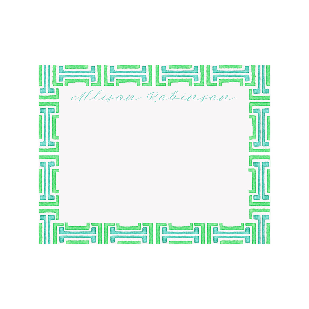 Personalized Greek Key Stationery- Green