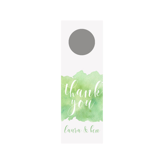 Watercolor Splash Wine Tag - Green