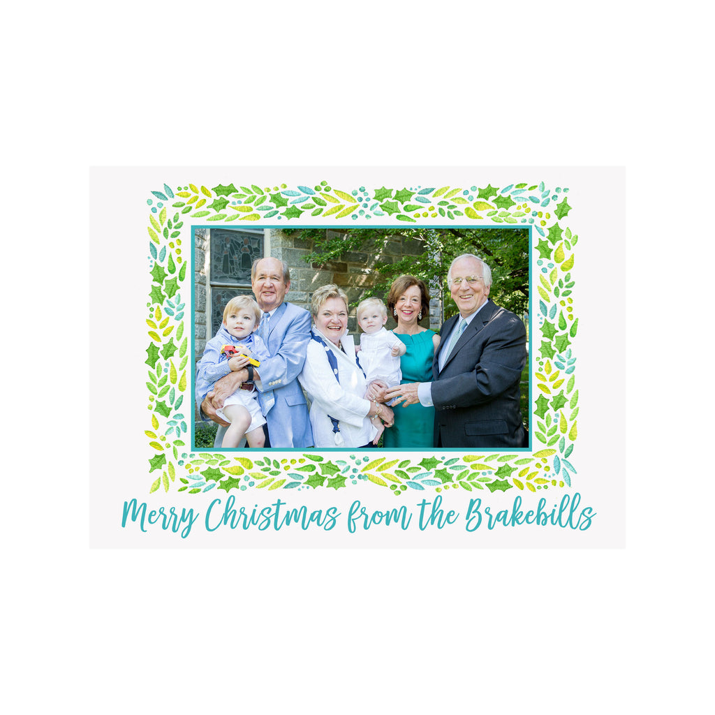 Green Garland Holiday Photo Cards