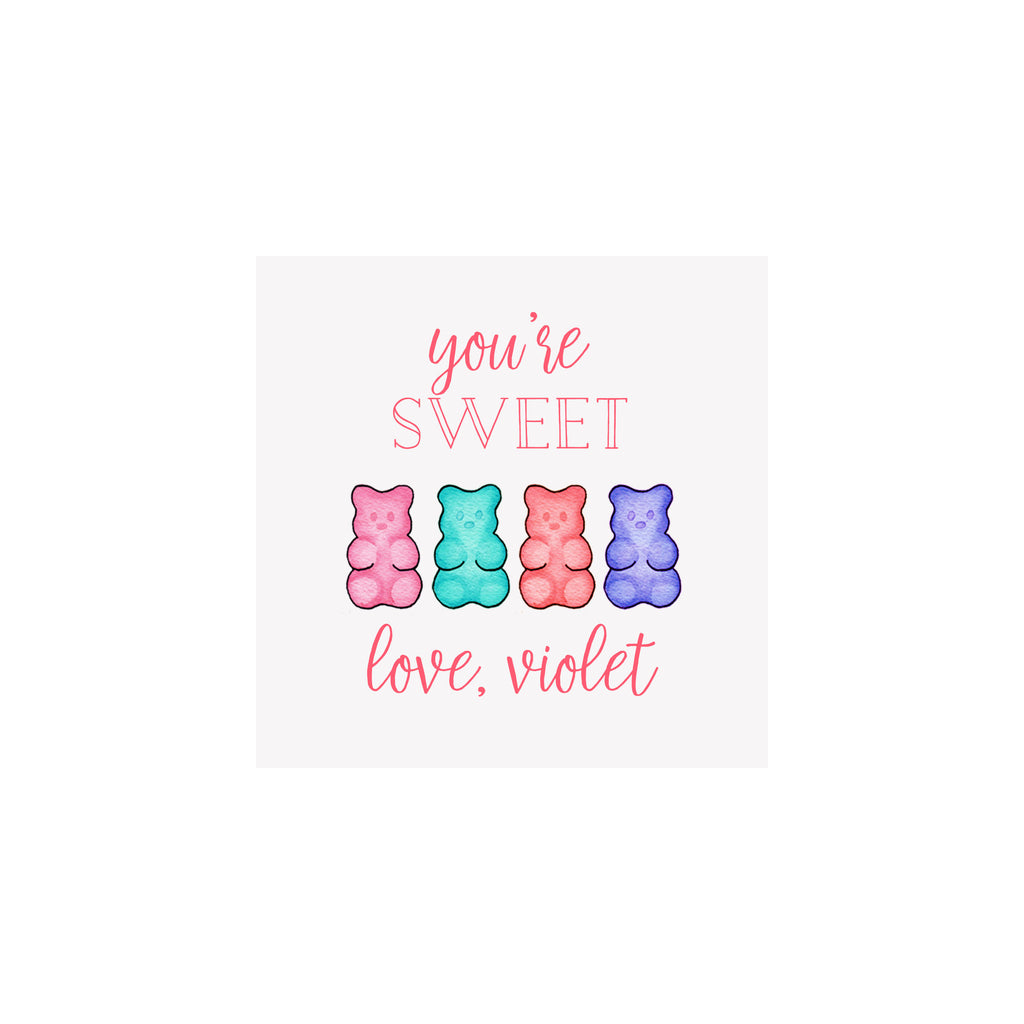 Gummy Bears Gift Tags & Stickers- Pink & Purple