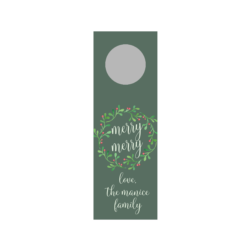 Holly Berries Personalized Wine Tag