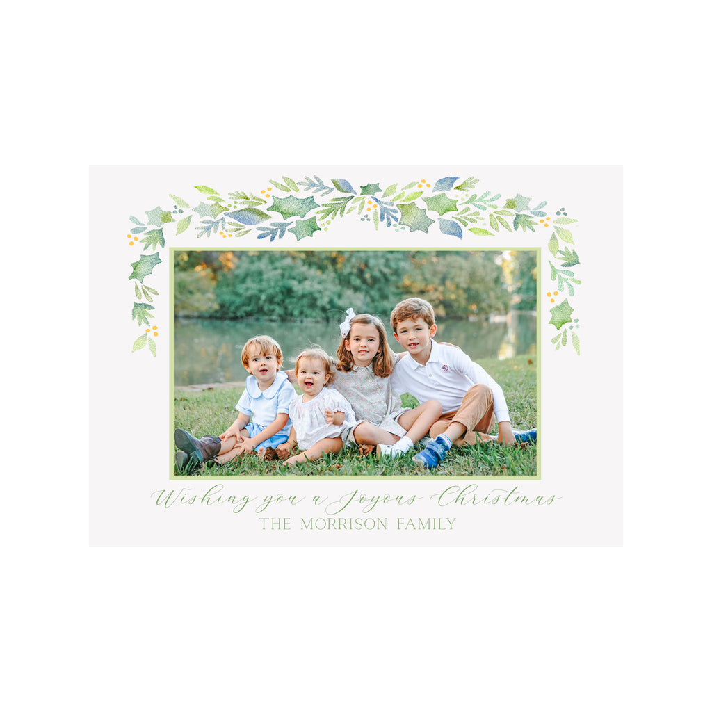 Garland Berries Blue Holiday Photo Cards