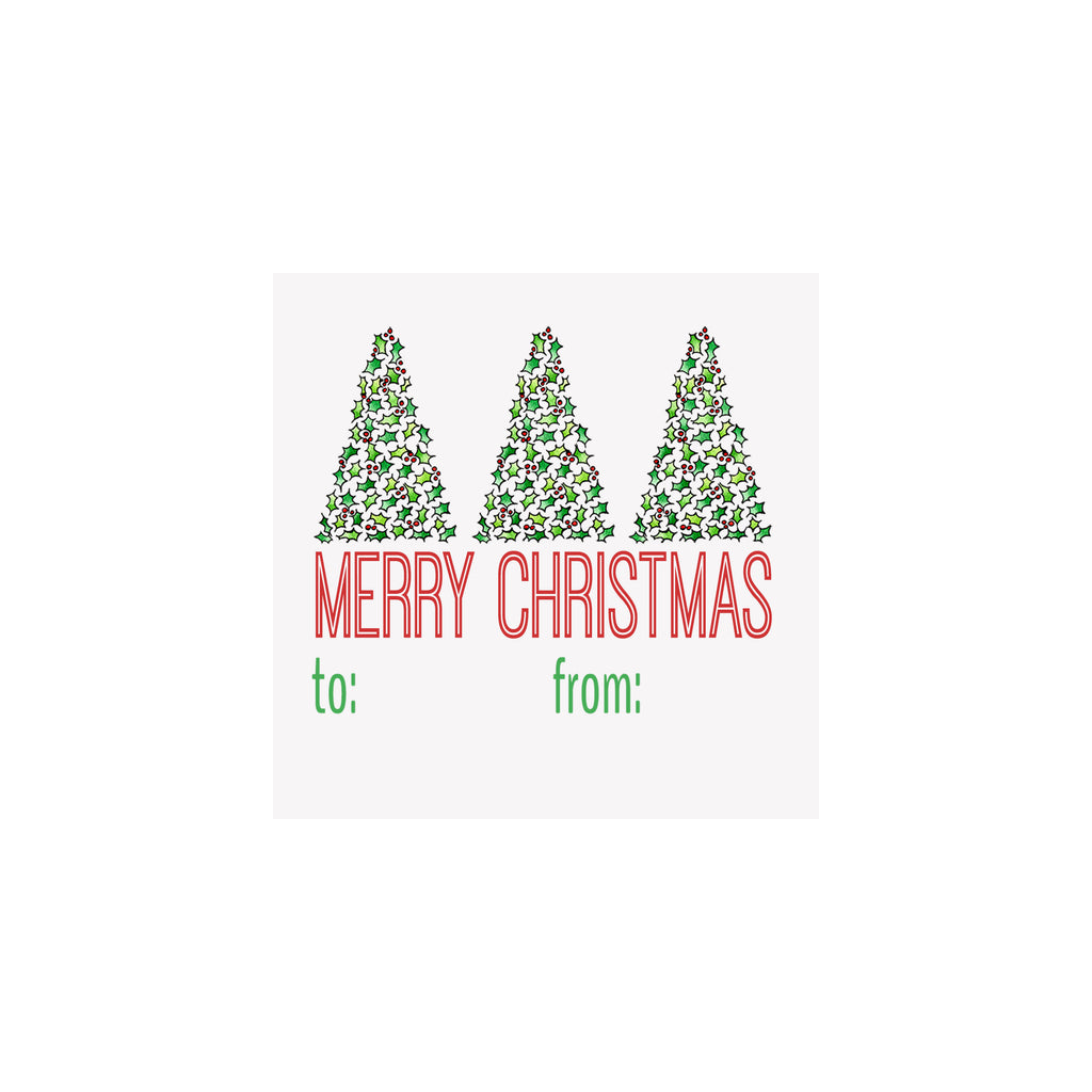 Holly Trees Merry Christmas Gift Tag