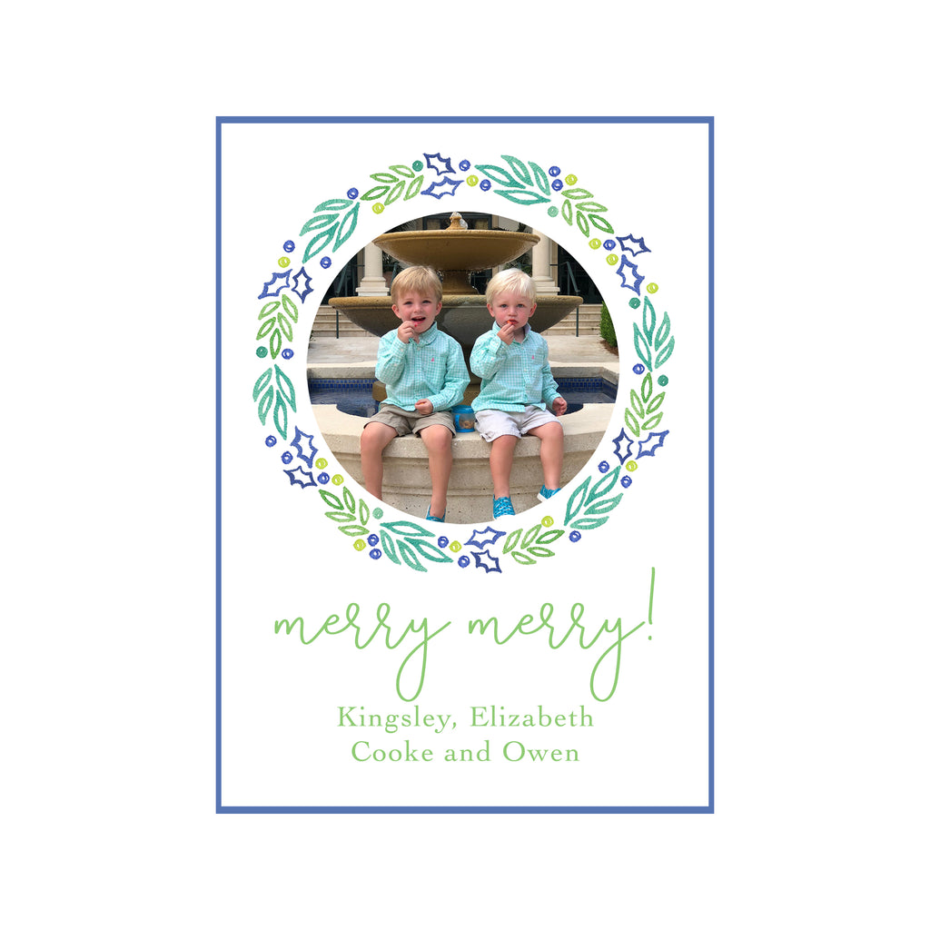 Holly Wreath Holiday Photo Cards