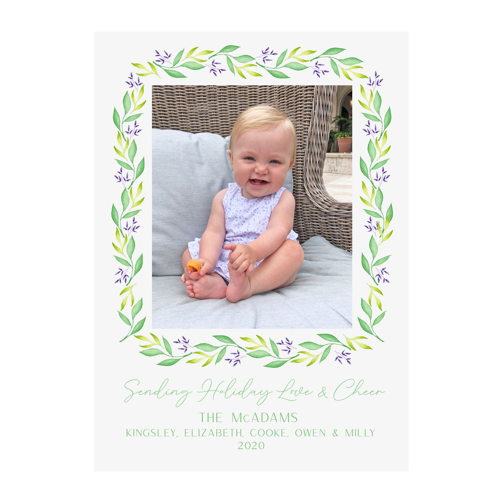 Lavender Garland Holiday Photo Cards
