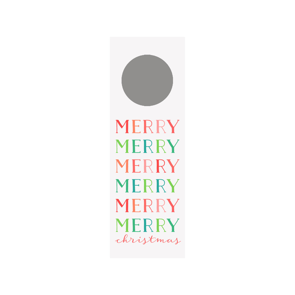 Merry Merry Colorblock Bottle & Wine Tag