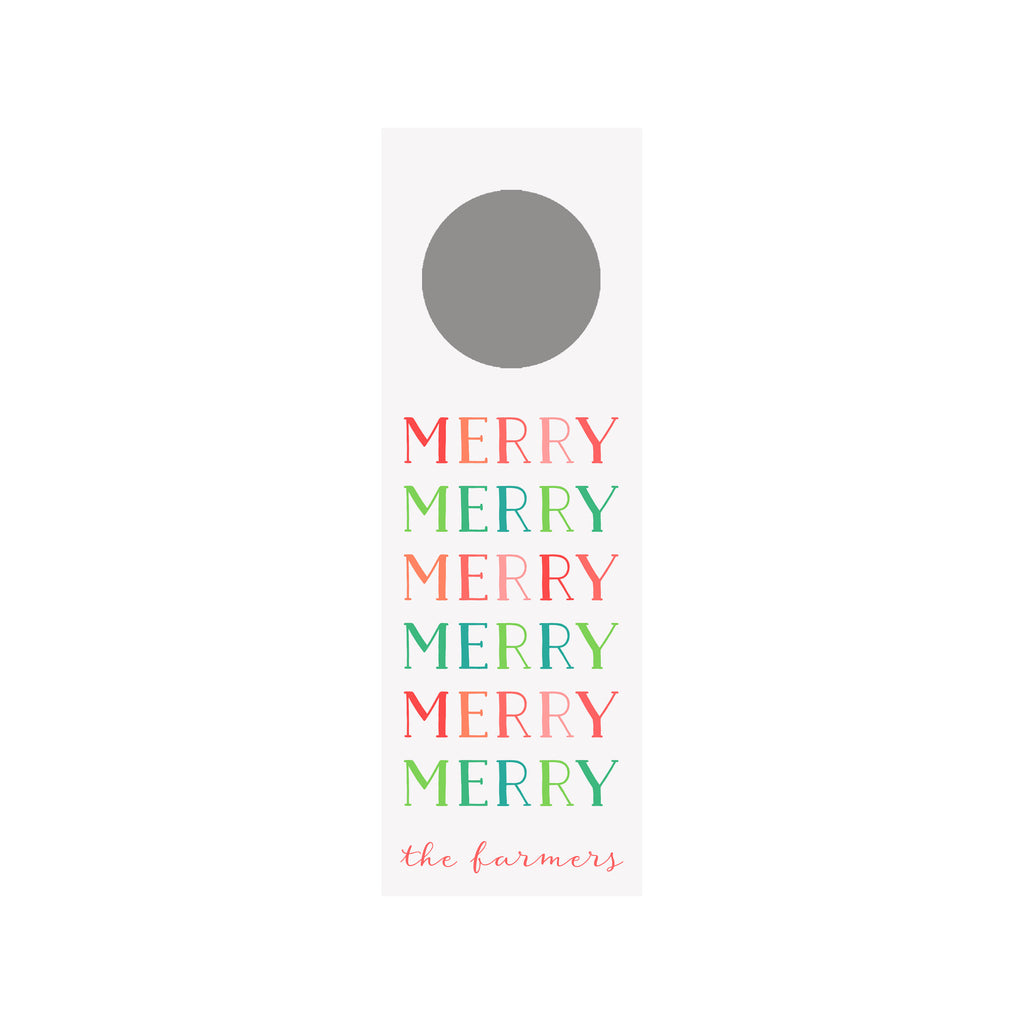 Merry Colorblock Personalized Wine Tag