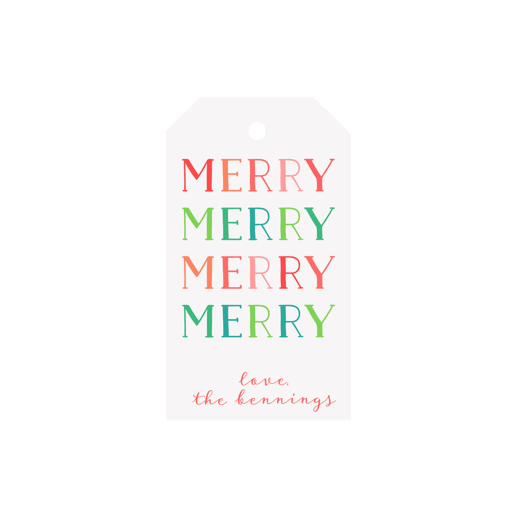 Merry Merry Colorblock Personalized Luggage Gift Tags
