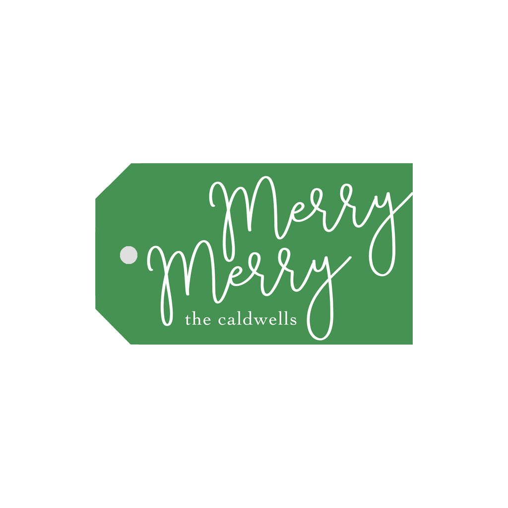 Merry Merry Personalized Luggage Gift Tags- Green