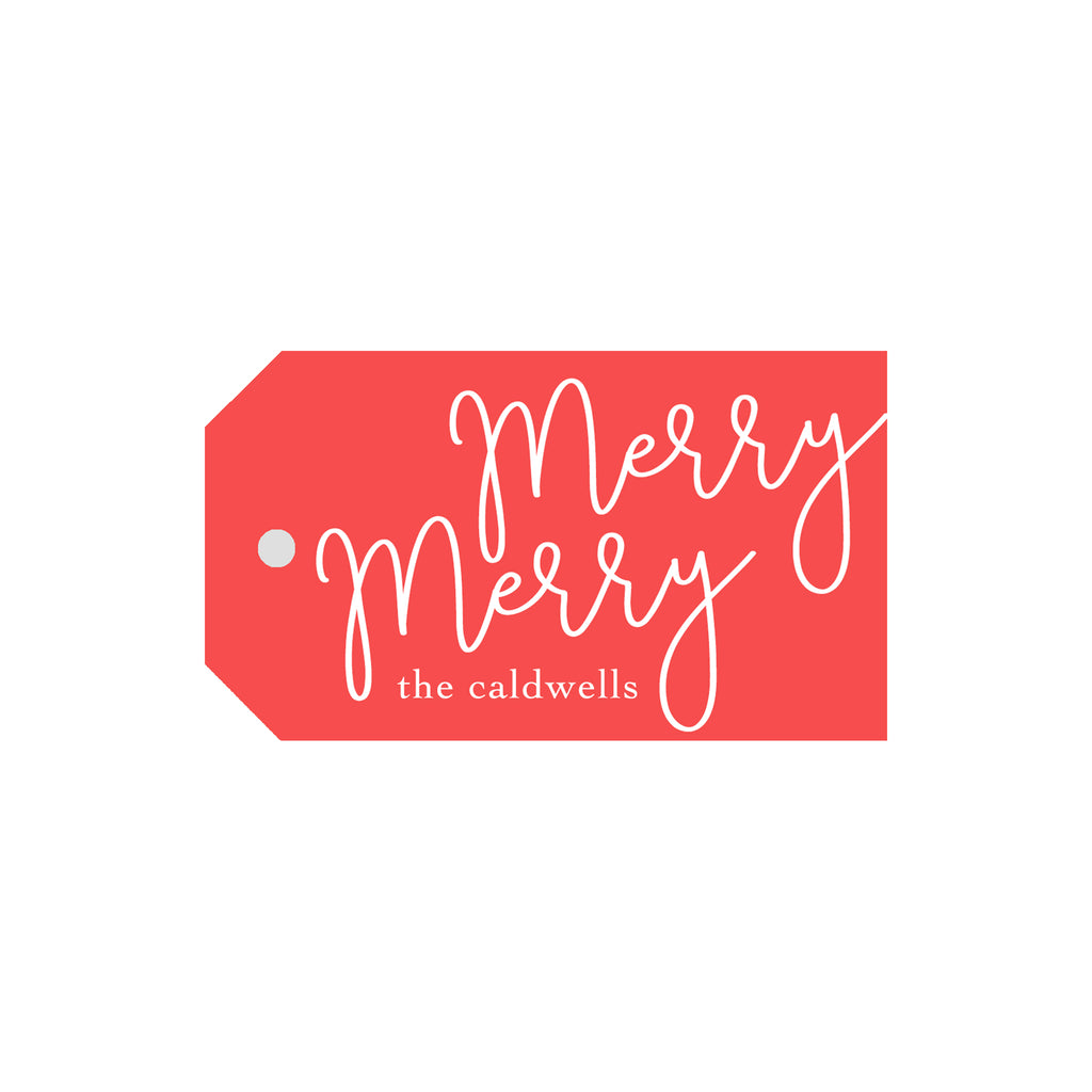 Merry Merry Personalized Luggage Gift Tags- Red