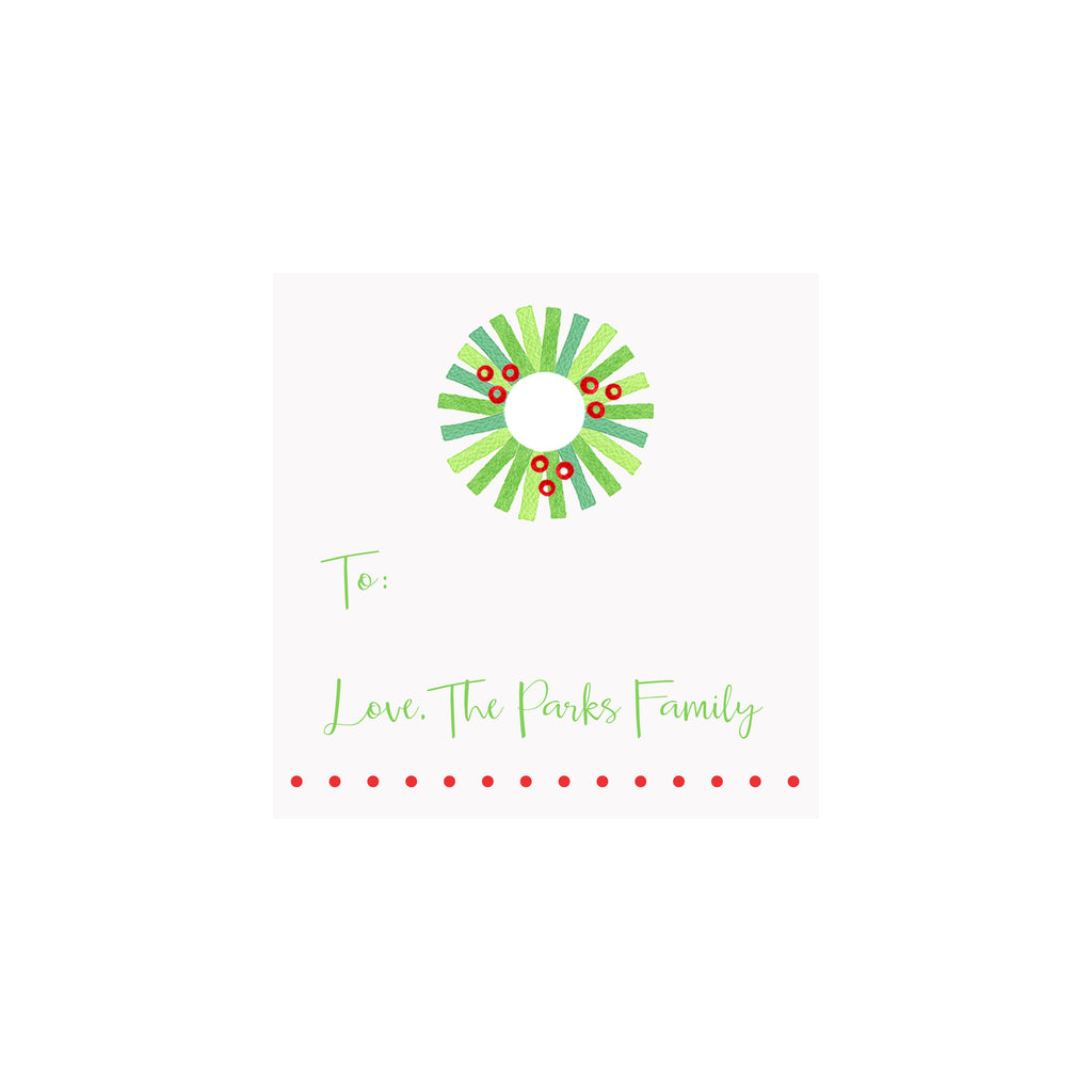 Wreath Personalized Gift Tags & Stickers