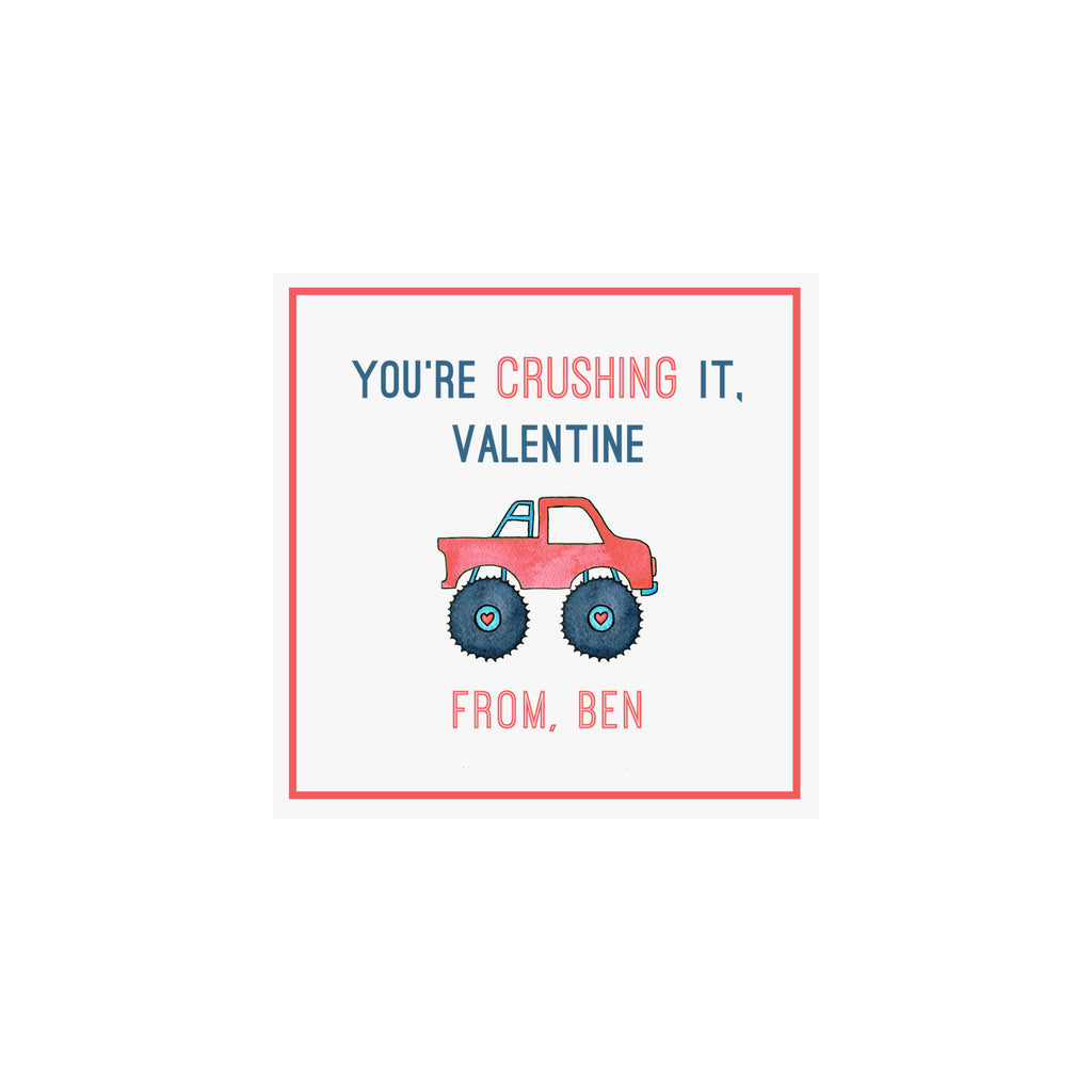 Monster Truck Valentine Gift Tags & Stickers