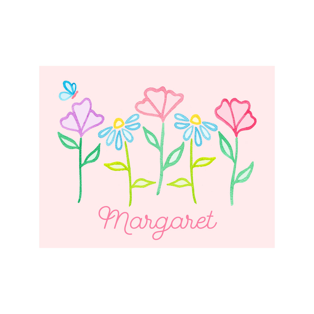 Pastel Garden Personalized Stationery- Foldover
