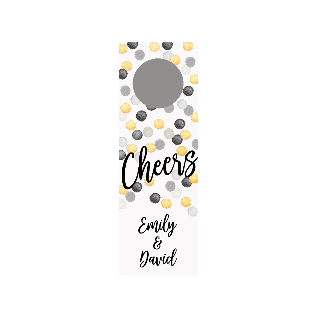 Champagne Dots Personalized Wine Tag