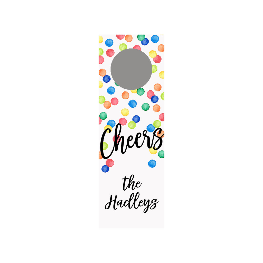 Confetti Dots Personalized Wine Tag