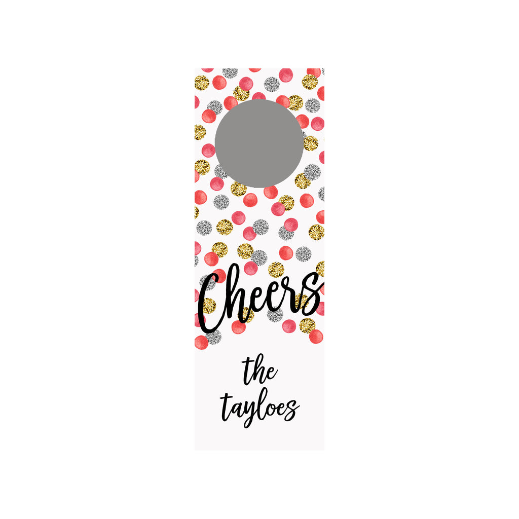 Glitter Dots Personalized Wine Tag