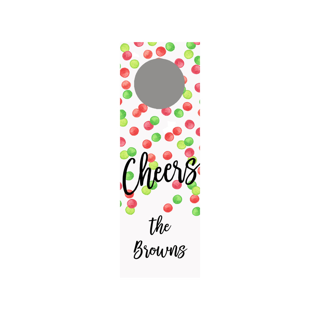 Holiday Dots Personalized Wine Tag