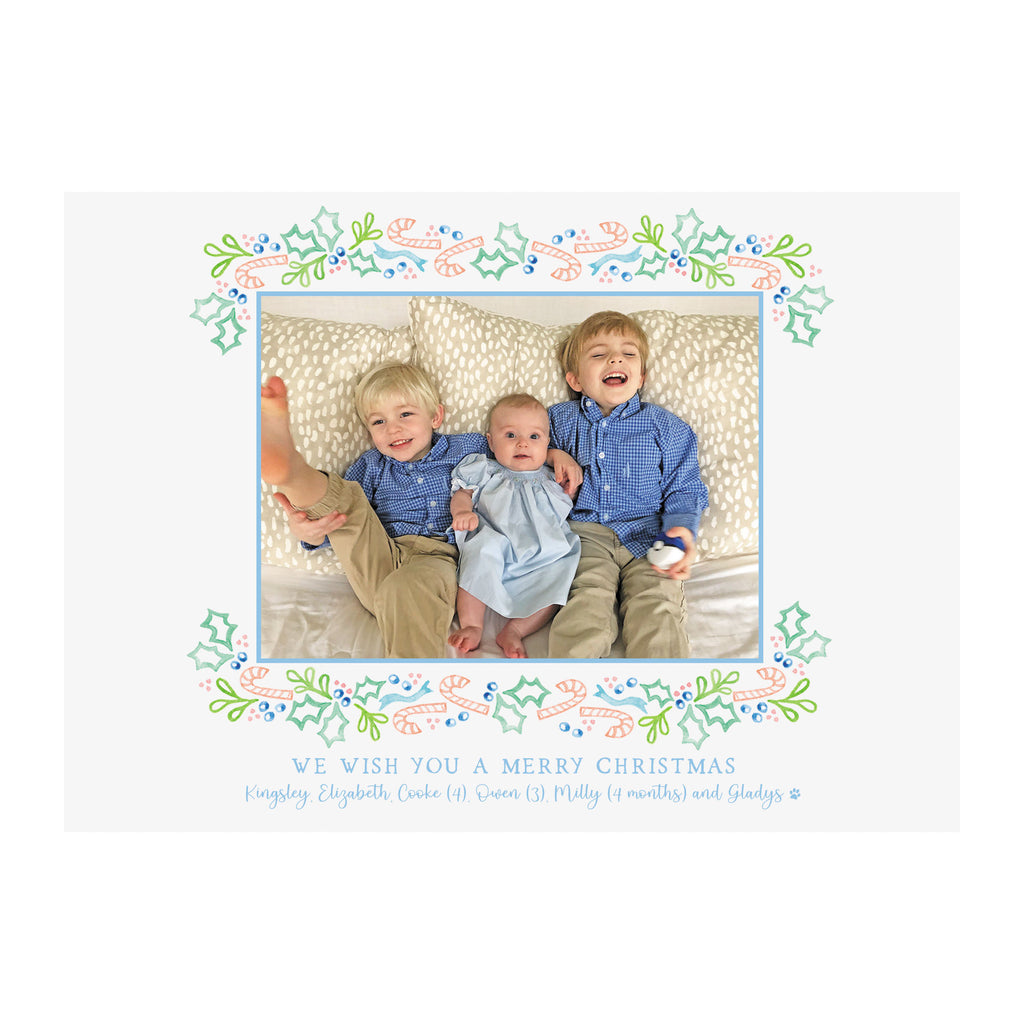 Pink Candy Canes Holiday Photo Cards