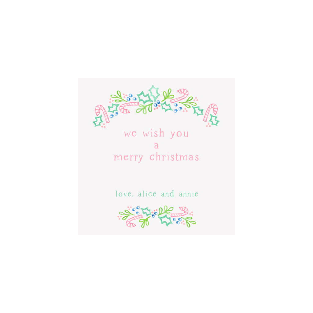 Pink Candy Canes Christmas Trees Personalized Gift Tags & Stickers