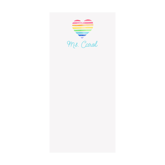 Rainbow Heart Notepad- Personalized