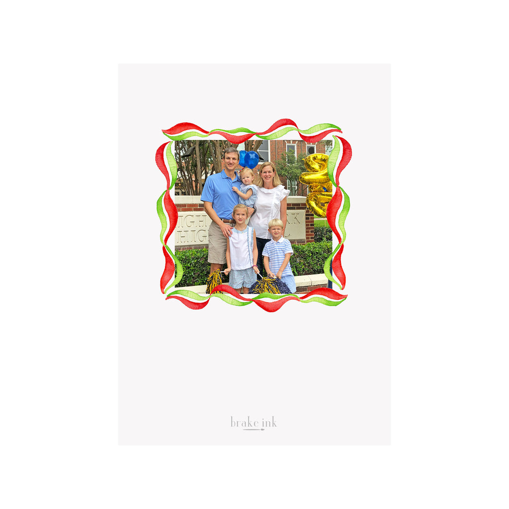 Ribbon Swirl Holiday Photo Cards- Red Green