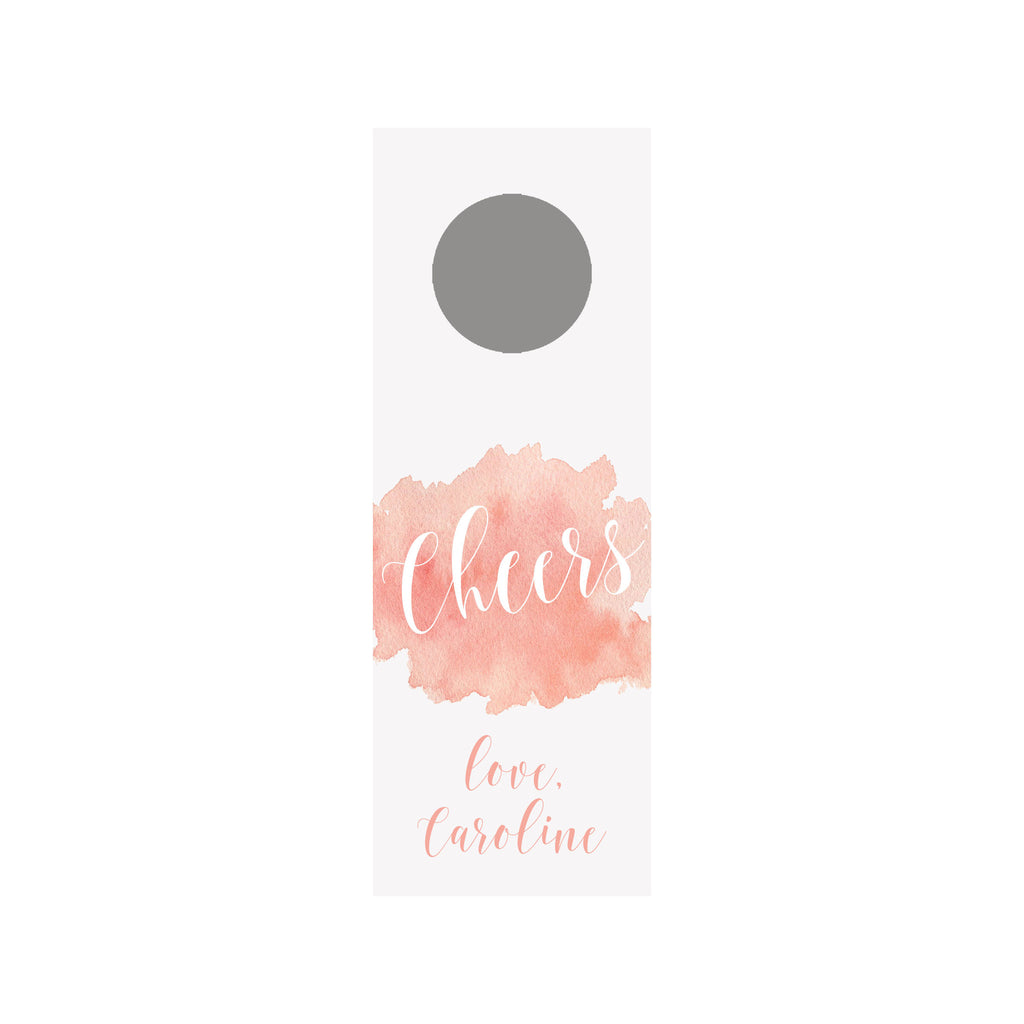 Watercolor Splash Wine Tag - Rose