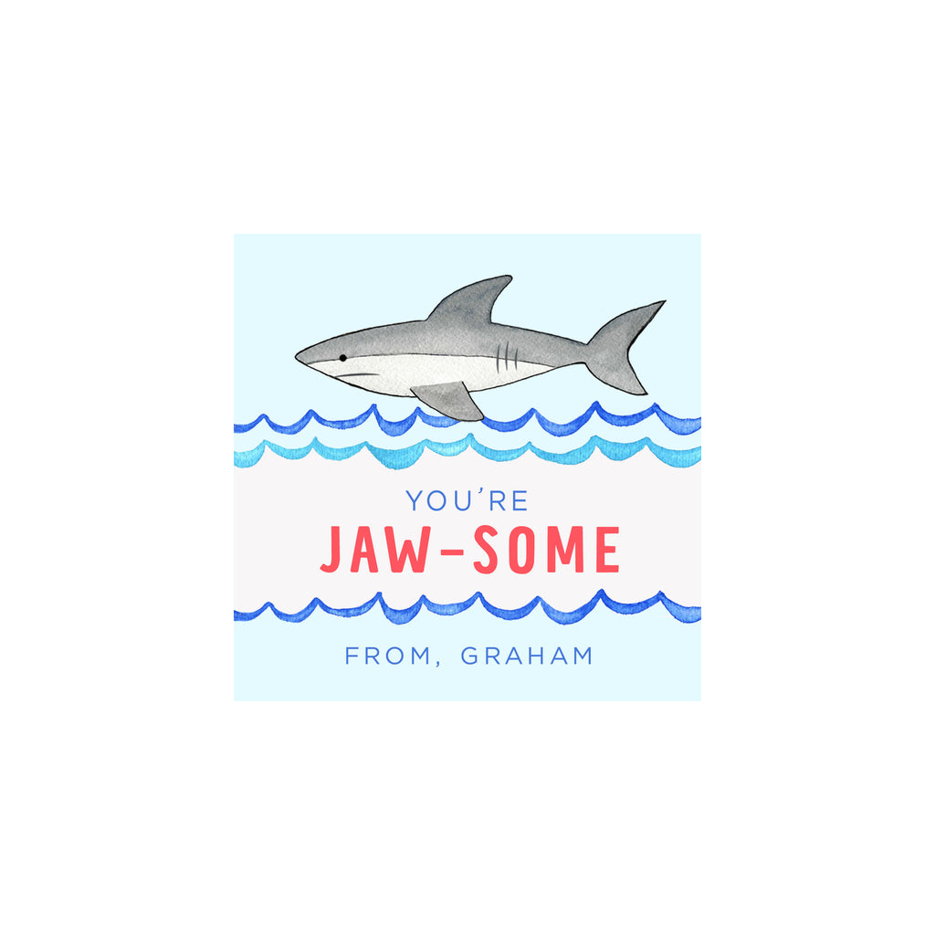 Personalized Shark Valentine Gift Tags & Stickers