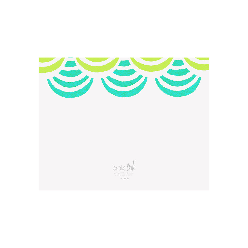 Shell Note Cards - Lime/Teal