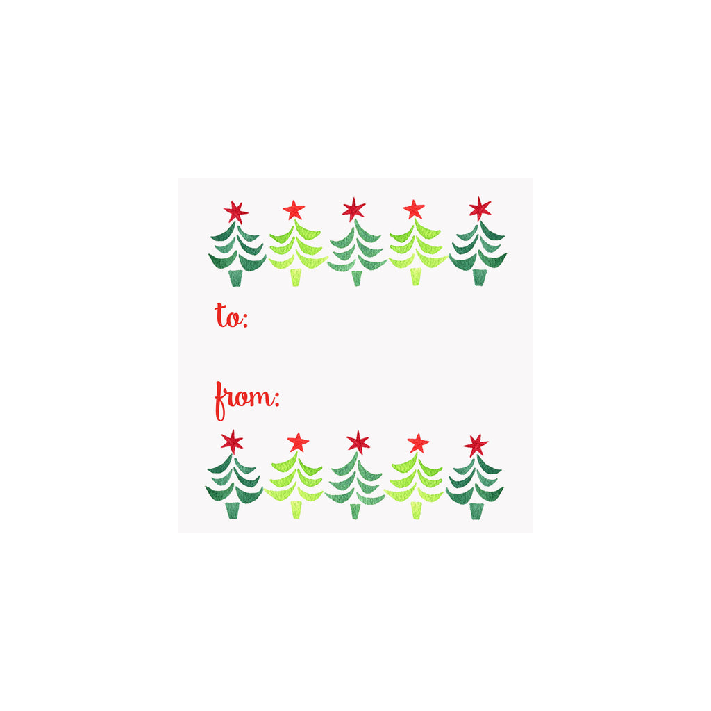 Starry Christmas Trees Gift Tag