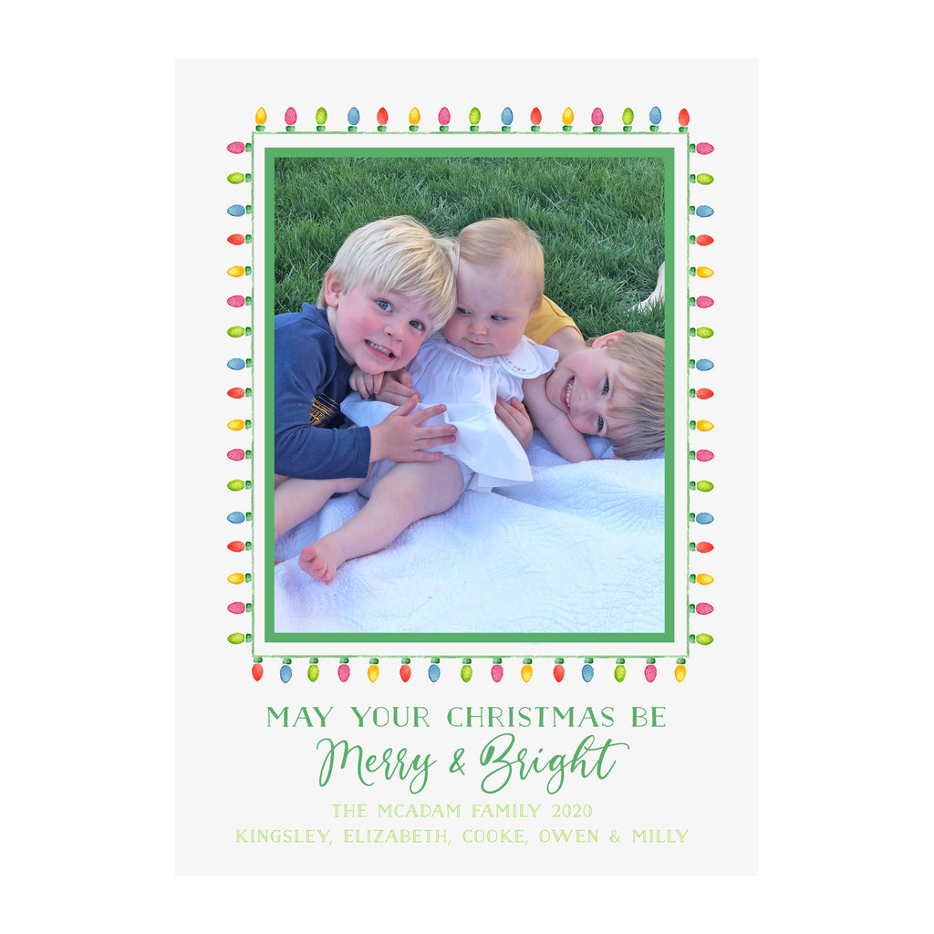 String Lights Merry & Bright Holiday Photo Cards