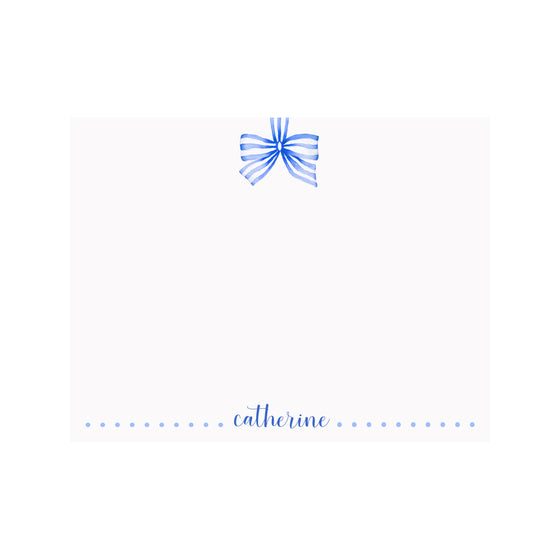 Striped Ribbon Blue Stationery