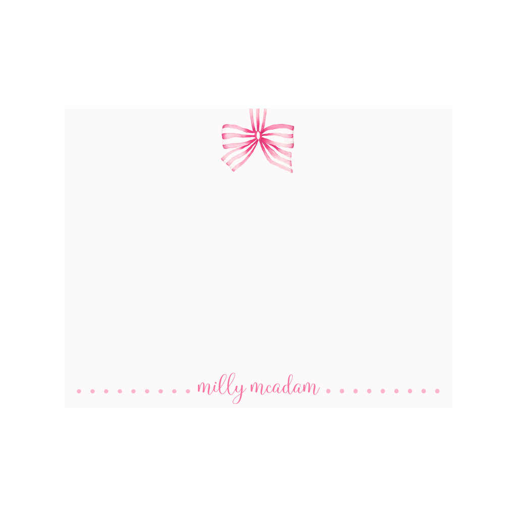 Striped Ribbon Pink Stationery