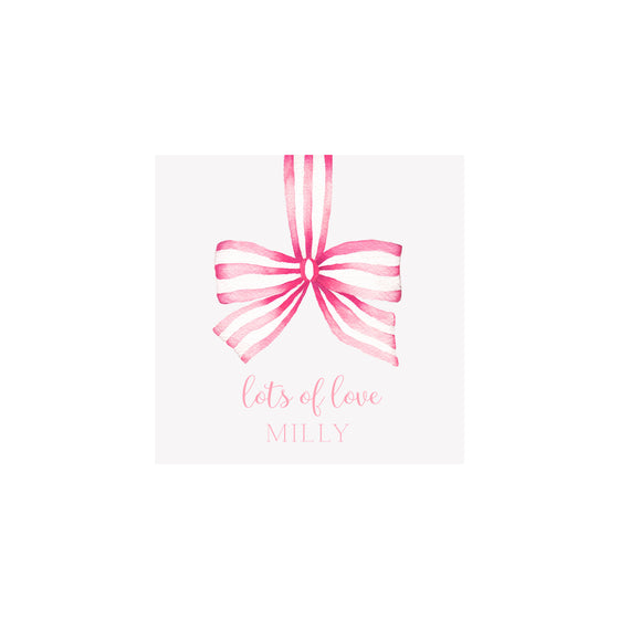 Striped Ribbon Gift Tags & Stickers- Pink
