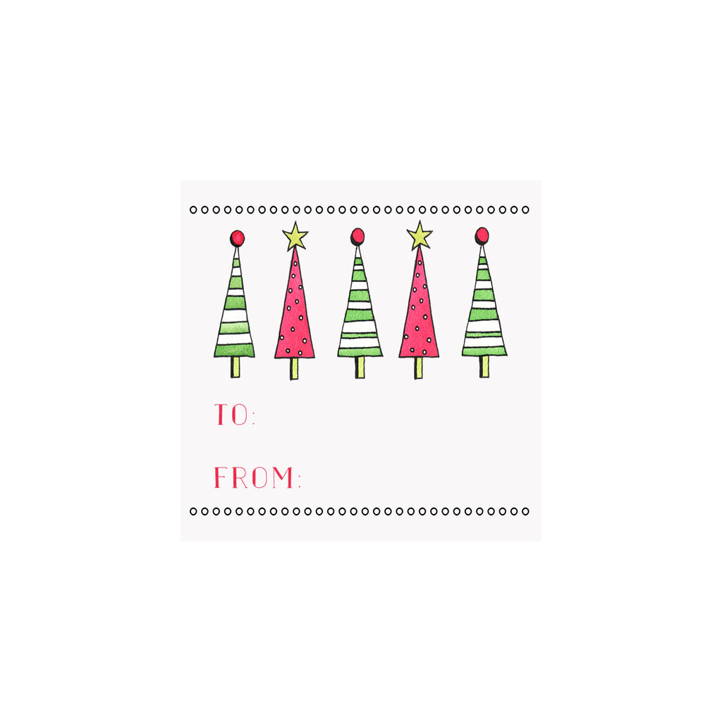 Striped Christmas Trees Gift Tag