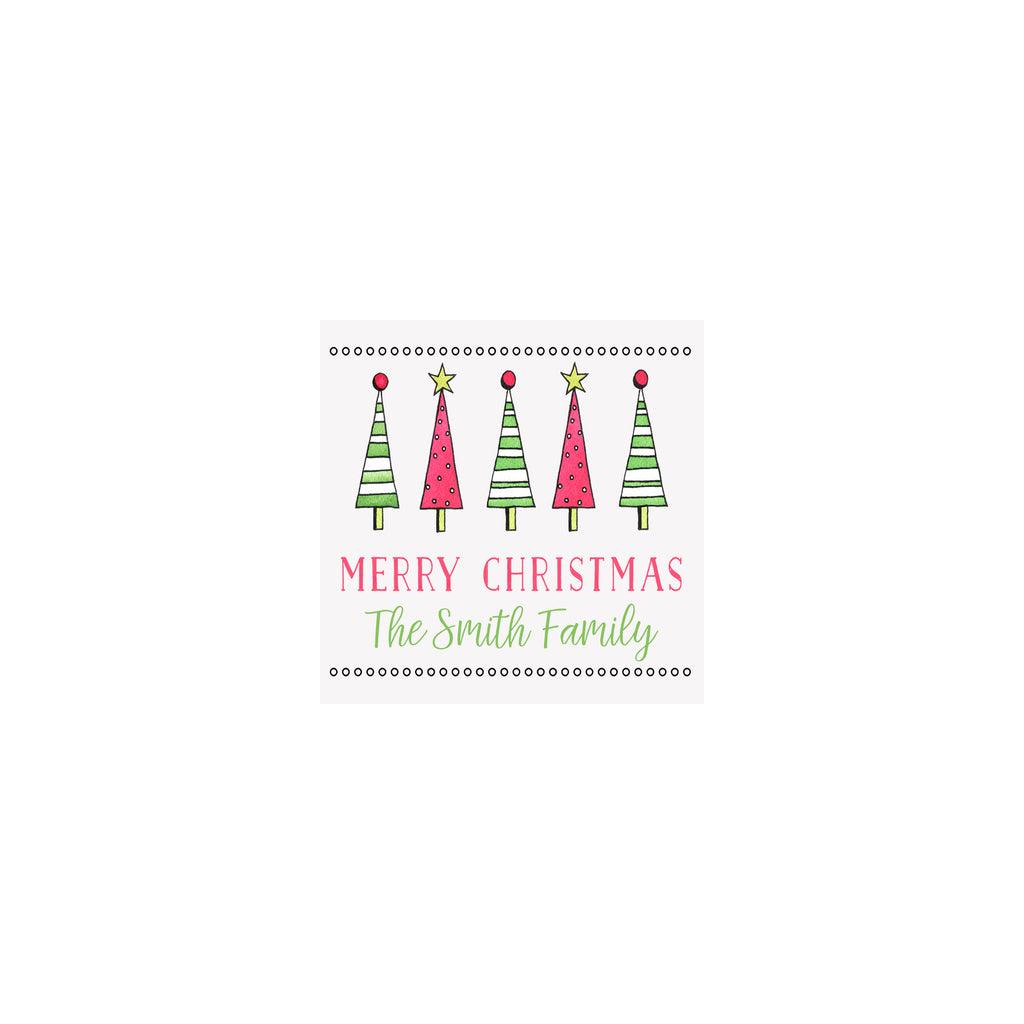 Striped Trees Personalized Gift Tags & Stickers