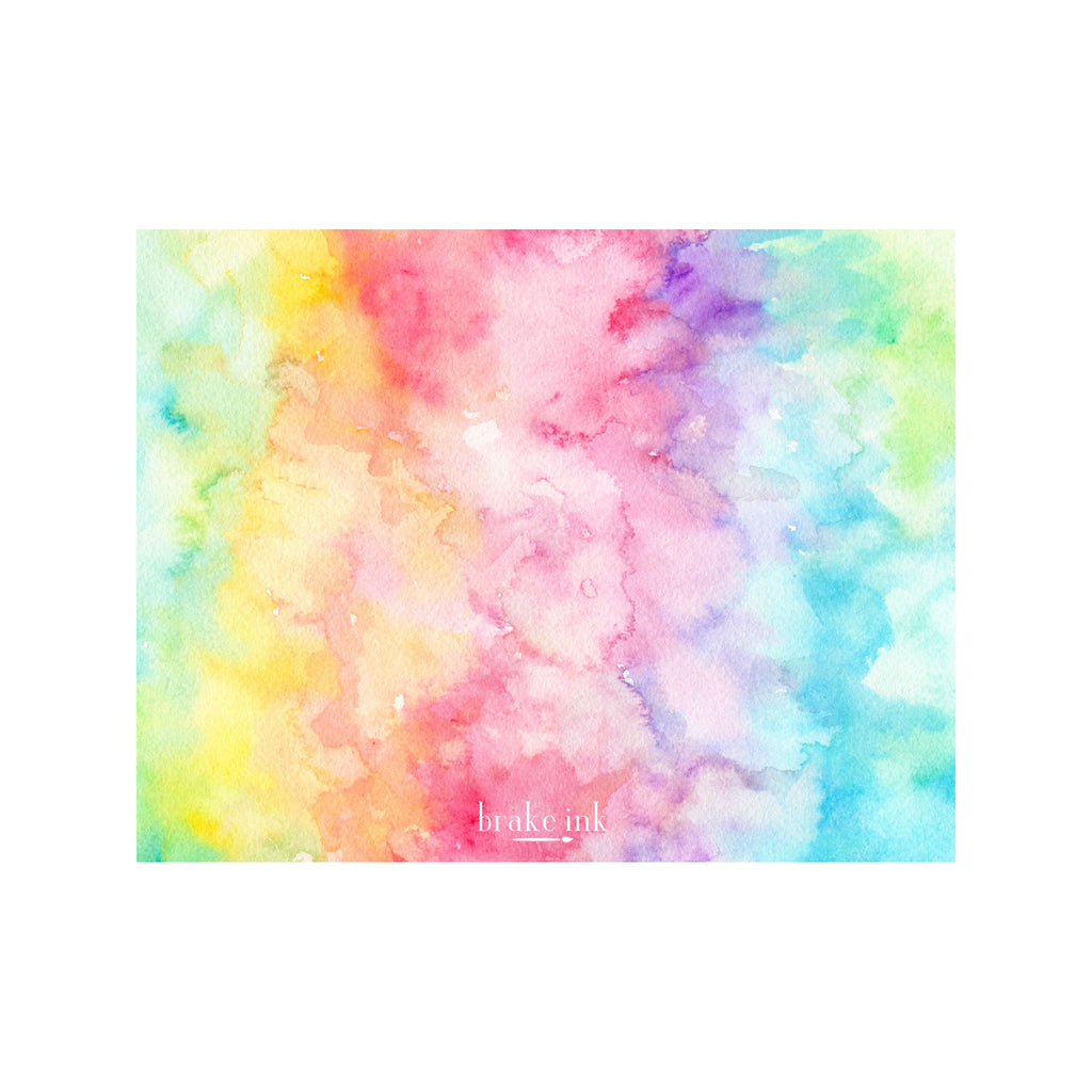Tie Dye Monogram Stationery- Rainbow