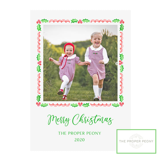 Proper Peony Garnet Holly Holiday Photo Cards