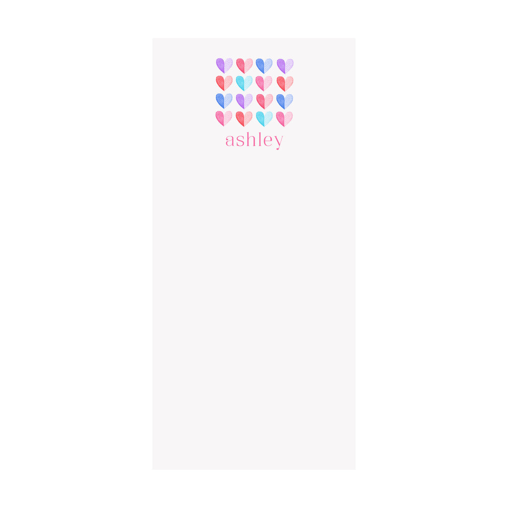 Two Tone Hearts Notepad- Personalized