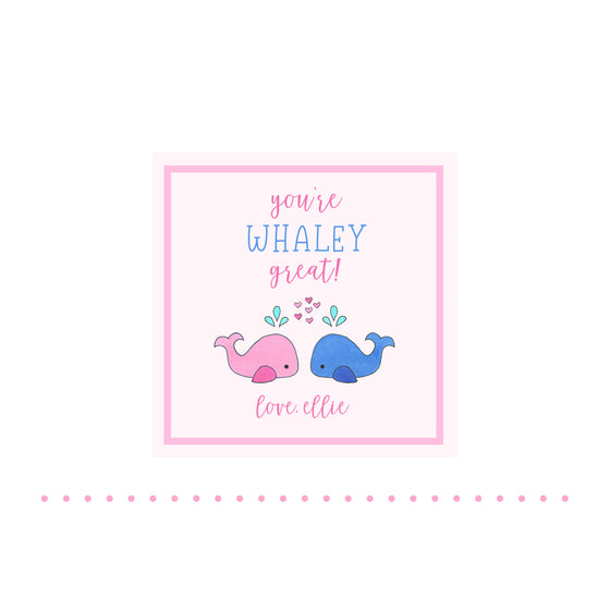 Whales Valentine Gift Tags & Stickers