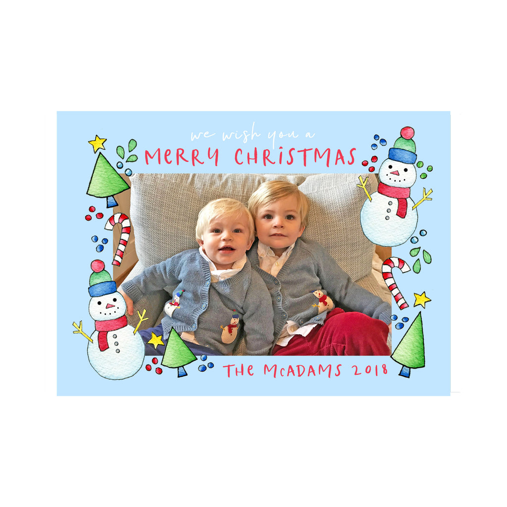 Whimsy Snowman Holiday Photo Cards