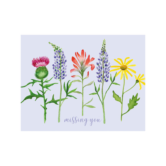Missing You Wildflowers Greeting Card