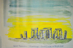 "PRT0036 - "" Stonehenge Spring"" Framed Art Print By Artist Ernst Zundel Collectible"