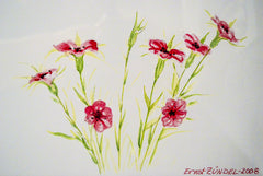 "PRT163 - ""Tiny Carnations"" - Framed Art Print By Artist Ernst Zundel Collectible"
